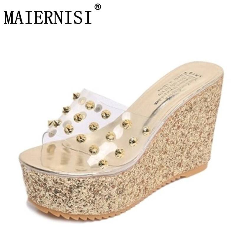 25fbd283106 woman summer sandals Transparent clear crystal sequins platform wedge thick  sole s high heels mules gold