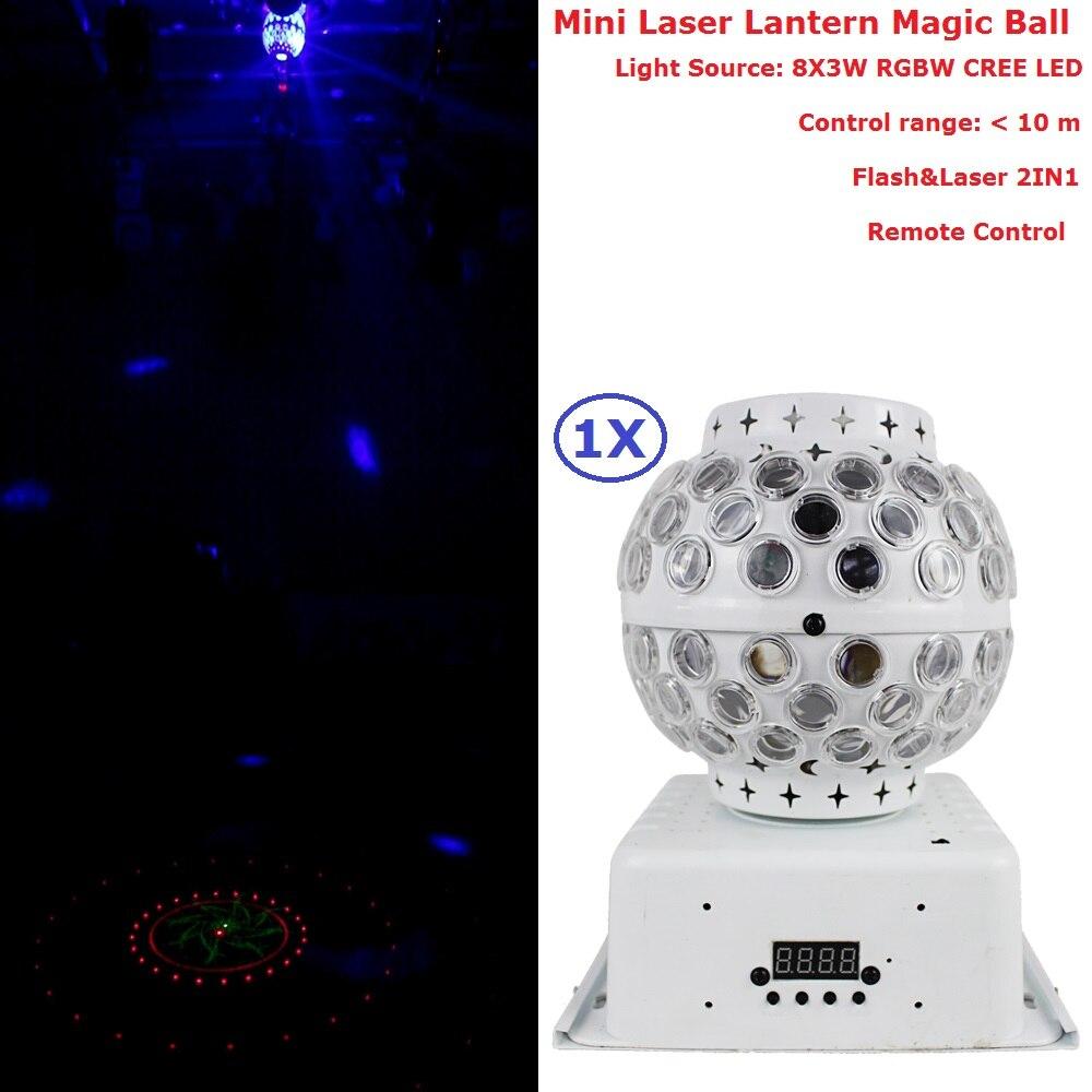 Avec télécommande 1 Pack 8X3 W RGBW Mini Laser lanterne magique boule lumières parfait pour la fête de mariage noël vacances décoration