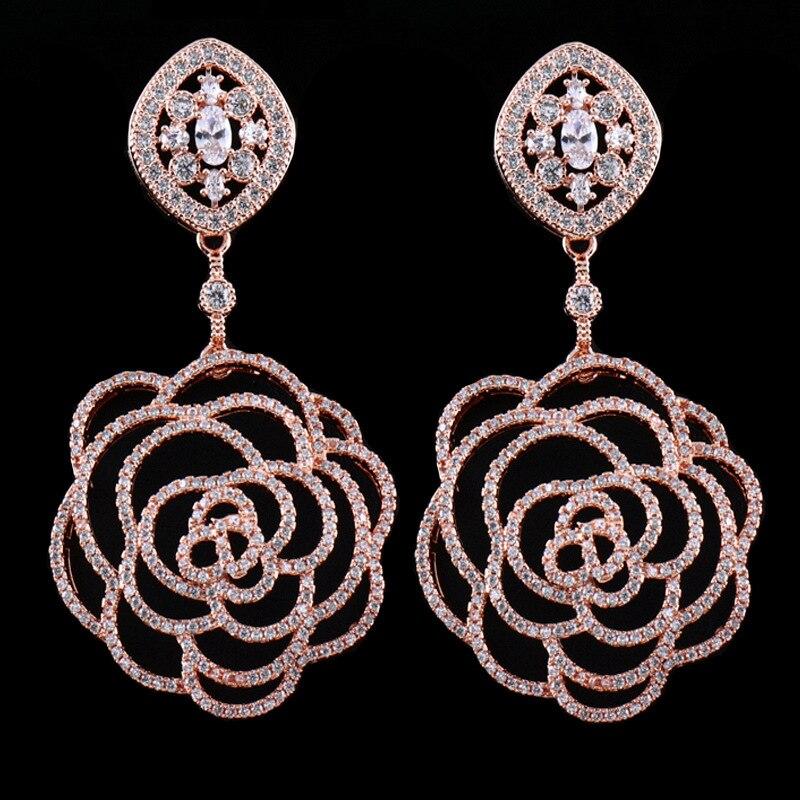 ALW Rose Flower White Zricon Pendant Design Drop Earrings For Women Party Female Earring Fashion Jewelry