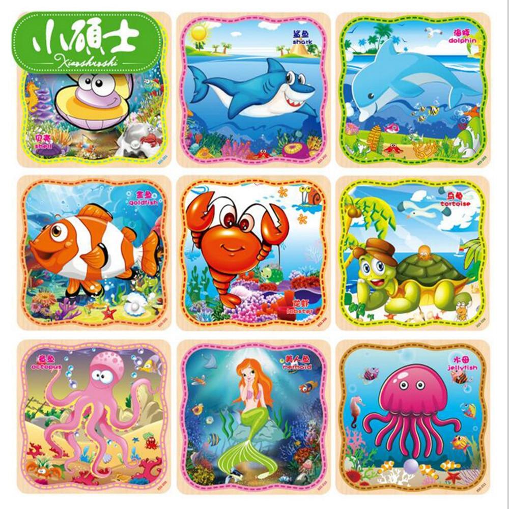 Dřevěný 20PC Sea Life Jigsaw pro děti Děti Včasné Vzdělávání Inteligence Rozvíjení Puzzle Učení Nástroj Hračky Dárky