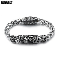 Pfステンレス鋼スカル骨キールブレスレット&バングル人格チタン鋼メンズブレスレットパンクジュエリー岩卸売