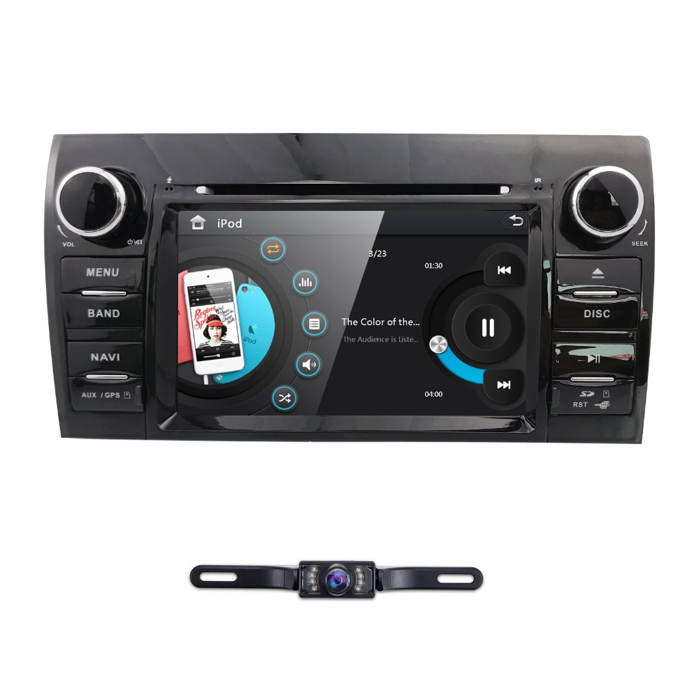 Hizpo TWO DIN Car DVD Head Unit For Toyota Tundra Sequoia Tape Recorder Stereo SWC Touch Screen CANBUS Free Rear View Camera Map