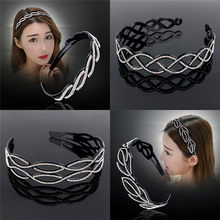 OPPOHERE Modern fashion Wave-Shaped Hair Band with new style beautiful Rhinestone Toothed women party Hair Hoop Jewelry(China)
