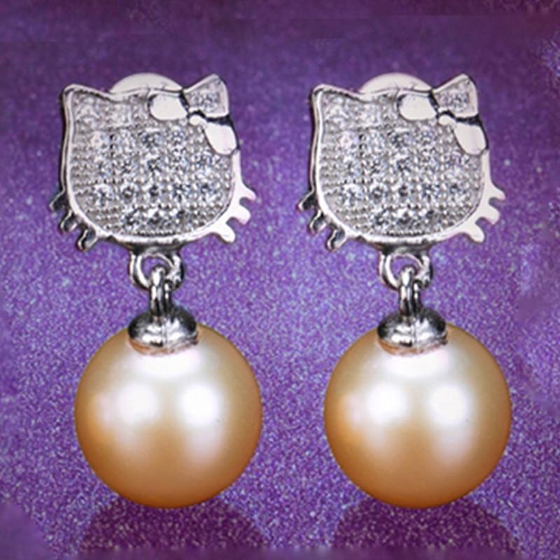 RUNZHUQIYUAN 2017 100% natural freshwater pearl drop earrings 925 sterling silver earrings jewelry for women gifts top quality