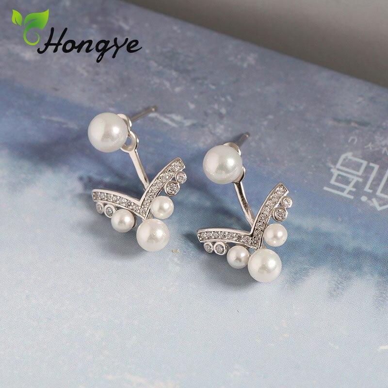 Hongye Real Pearl Earrings Women Zircon Decorative Elegant Silver 925 Jewelry Original Brand Drop Earrings for Women Fine Gifts in Earrings from Jewelry Accessories