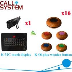 Bezprzewodowy Restauracji Wywołanie Kelner System Najlepsza Cena (1 + wyświetlacz 16 przycisk połączenia)