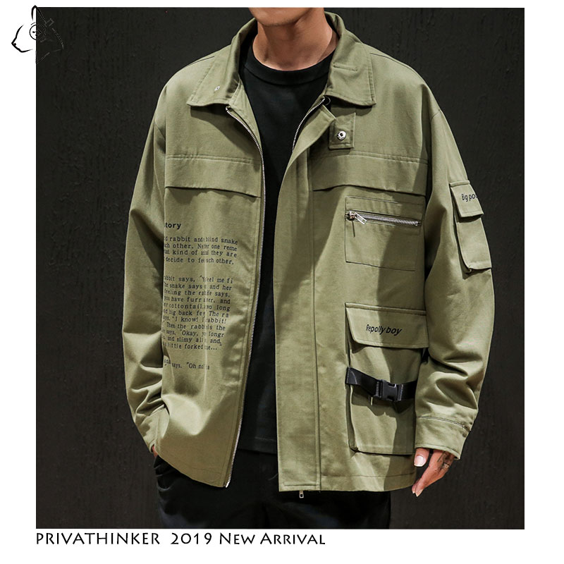Privathinker Man Cotton 2019 Casual Jackets Mens Safari Style Army Windbreaker Jackets Male Autumn Hip Hop Coats Jacket Oversize(China)