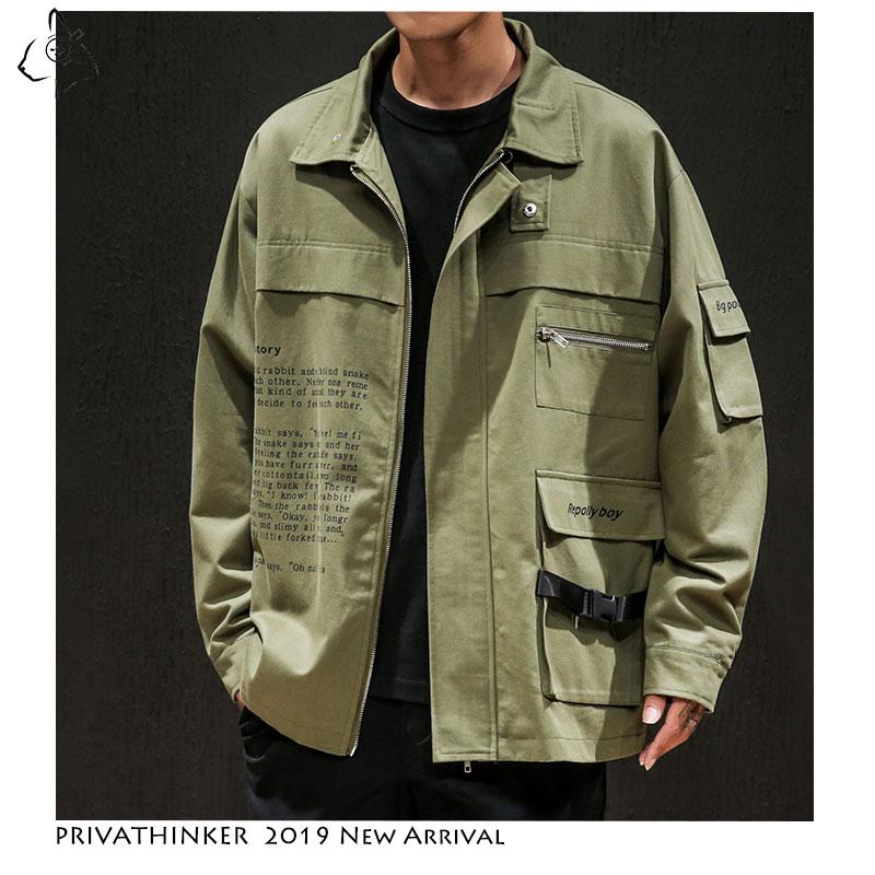 Privathinker Man Cotton 2019 Casual Jackets Mens Safari Style Army Windbreaker Jackets Male Autumn Hip Hop Coats Jacket Oversize(China)