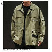 Privathinker Man Cotton 2019 Casual Jackets Mens Safari Style Army Windbreaker Jackets Male Autumn Hip Hop Coats Jacket Oversize