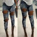 Moda Gran Agujero Begger Jeans Mujer Flaca Pantalones Vaqueros de Talle Alto Mujeres Destroyed Ripped Denim Pantalones Para Las Mujeres