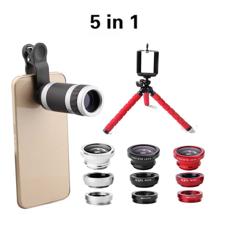 imágenes para Trípode Flexible con 8X Lente Del Telescopio Del Teléfono de La Cámara 5in1 3in1 Clip Kit de Lente de la cámara de ojo de Pez 0.67 lente Macro para el teléfono celular
