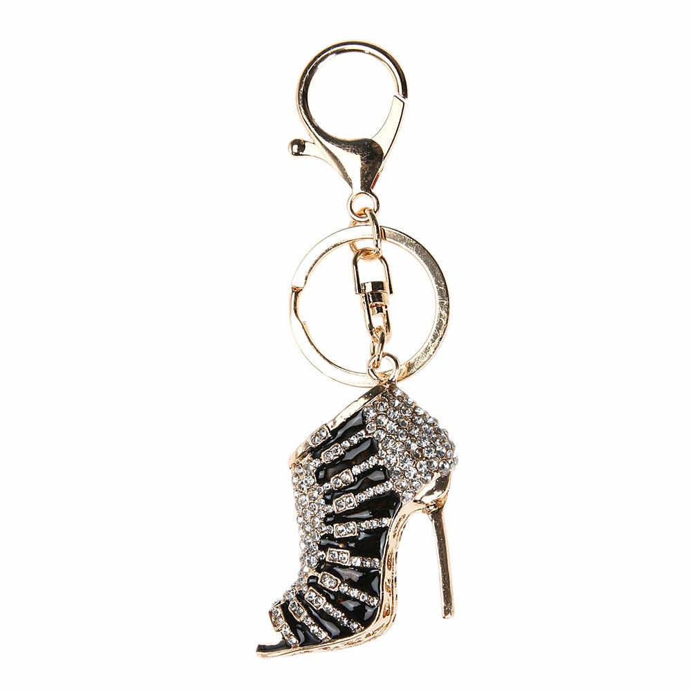 Mini M zapato de tacón alto multicolor encanto colgante de cristal bolso llavero coche mujeres joyería cumpleaños fiesta regalo