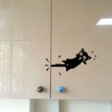 Cat Wall Sticker – Cartoon Cat Pattern Kitchen Cabinet Wall Stickers Furniture Glass Stickers Decal Home Decor