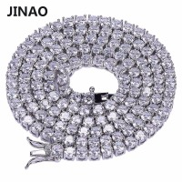 JINAO Gold Silver Color Plated All Iced Out Hip Hop Copper Micro Pave CZ Stone 4mm