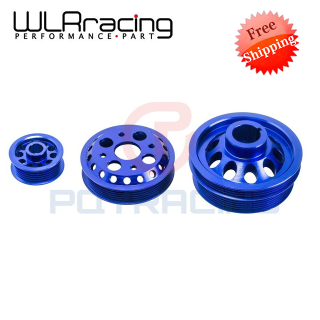 WLRING STORE Free shipping- LIGHT-WEIGHT CRANK PULLEY FOR NISSAN SKYLINE Z33 350Z Fairlady 350GT V35 02-06 BLUE WLR6877B  free shipping light weight crank pulley new for nissan skyline gtr bnr32 rb26 dett rb20 rb25 underdrive crank pulley yc100829