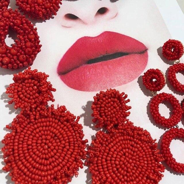 Лучшие женские горячие BA красные ручной работы нанизанные бисером серьги ювелирные изделия для женщин бисера бахромой Висячие Серьги Свадебная вечеринка оригинальная бижутерия