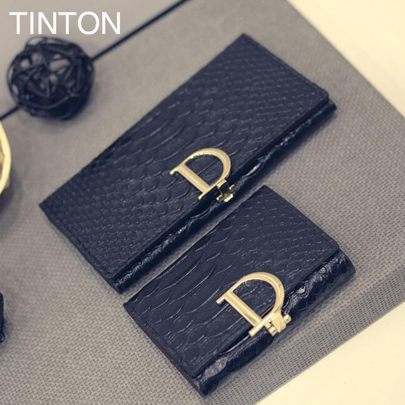 TINTON 2018 new ladies fashion purse length solid color purse PU leather ladies personality card bit coin purse simple clutch