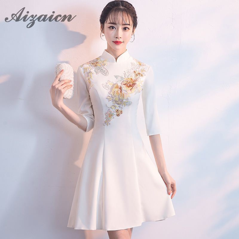 ce518b4d1f1 Summer White Modern Chinese Traditional Women Dress Mini Cheongsam Sexy  Qipao Embroidery Evening Gown China Asian Style Dresses-in Cheongsams from  Novelty ...