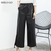 SHILO GO Leather Pants Womens Spring Fashion sheepskin genuine leather Pants stretch high waist office lady causal straight pant