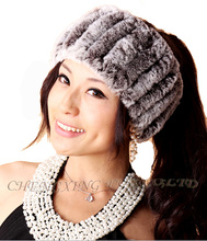 CX-S-153F New Products Women Hand Knitted Real Rex Rabbit Fur Headband