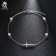 Fashion Shiny CZ Female Cross Design Silver Color Bracelet for Women