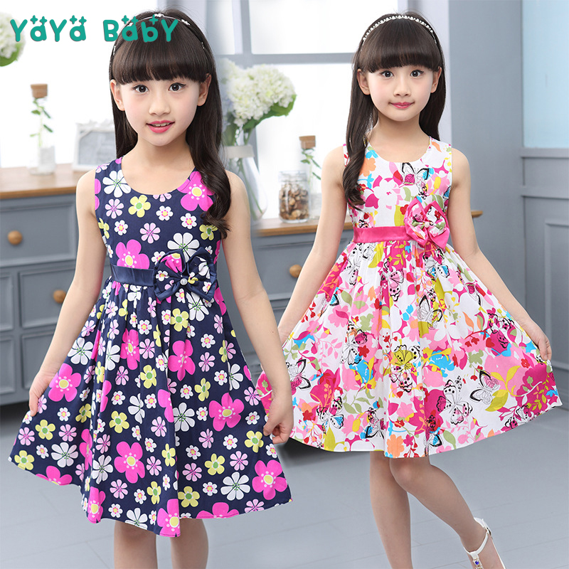 2018 Flower Girls Dress Sleeveless Bow Kids Dresses for Girls 4 5 6 7 8 9 10 11 12 Year Summer Children Princess Clothing kids dresses for girls 2017 girls dresses in black and white floral print dress bow sleeveless tutu teenagers girls clothing 12
