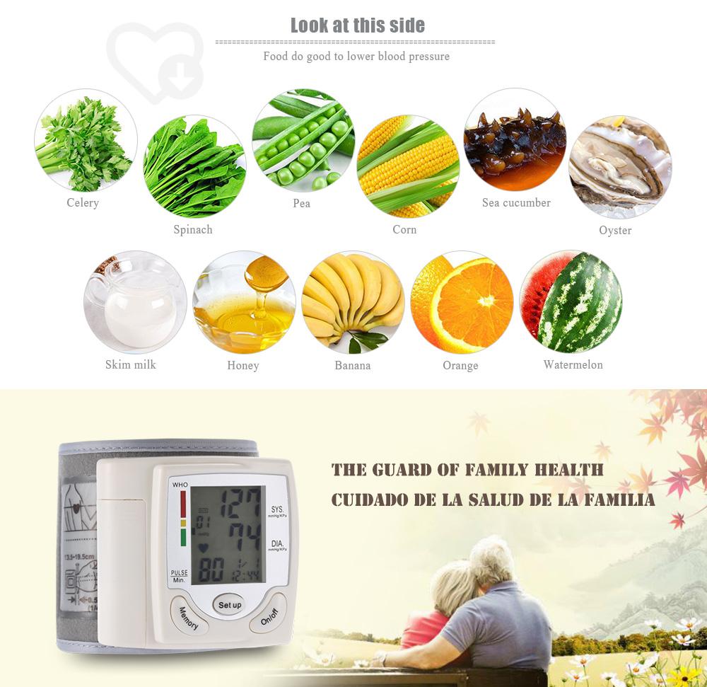 Health Care Automatic Digital Wrist Cuff Blood Pressure Monitor Heart Beat Rate Arm Pulse Meter Machine Tonometer For Measuring 12