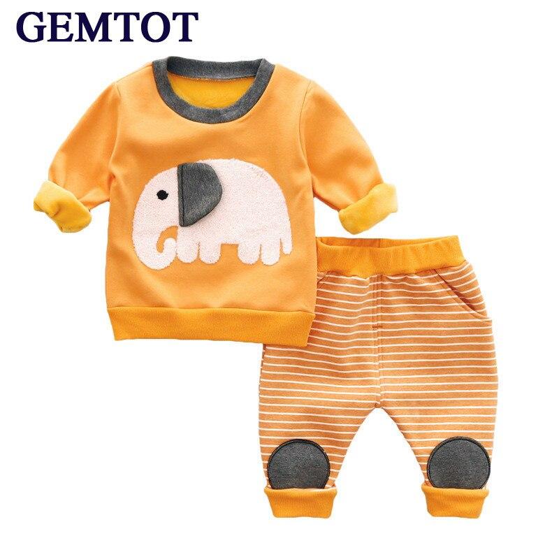 GEMTOT infant clothing Boy girl baby Autumn and winter Plus cashmere warm sets Cartoon long sleeve T-shirt + pants 2 pieces set