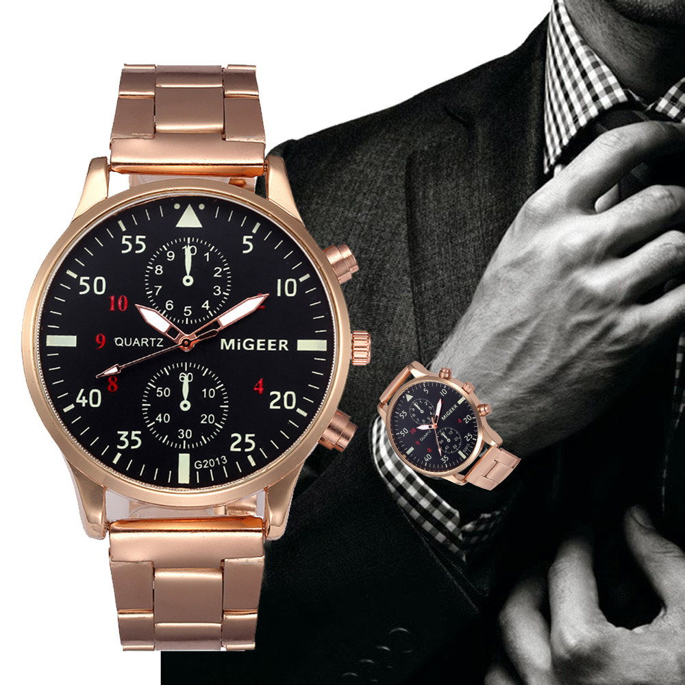MIGEER Clock Fashion Crystal Stainless Steel Analog Men Wrist Watch High quality Mens watches top brand luxury Reloj hombre Saat onlyou brand luxury fashion watches women men quartz watch high quality stainless steel wristwatches ladies dress watch 8892