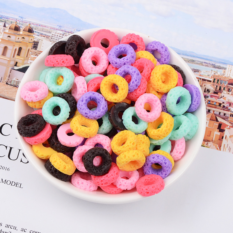 10Pcs Charms Colorful Mini Donut Addition Sprinkles Slime Supplies Filler For Fluffy Mud Polymer Toys Accessories Clay DIY Beads
