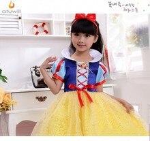 Atuwill Snow White Dress badge cape hair pin Girls Costumes fantasias Princess Dress New Year Halloween