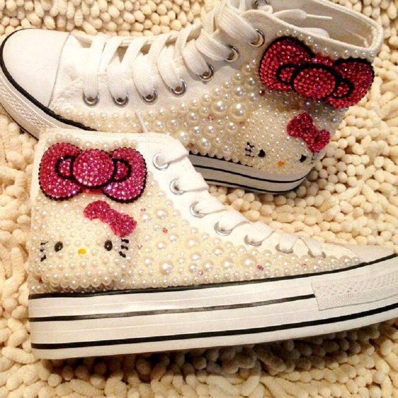 Giapponese nuovo fatti a mano su ordinazione della perla ciao gattino carino scarpe basse strass aggiungi scarpe di tela.