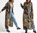 2017 женщин новая весна и осень пластина печати платье причинно свободные белье верхняя одежда ретро капюшоном траншеи