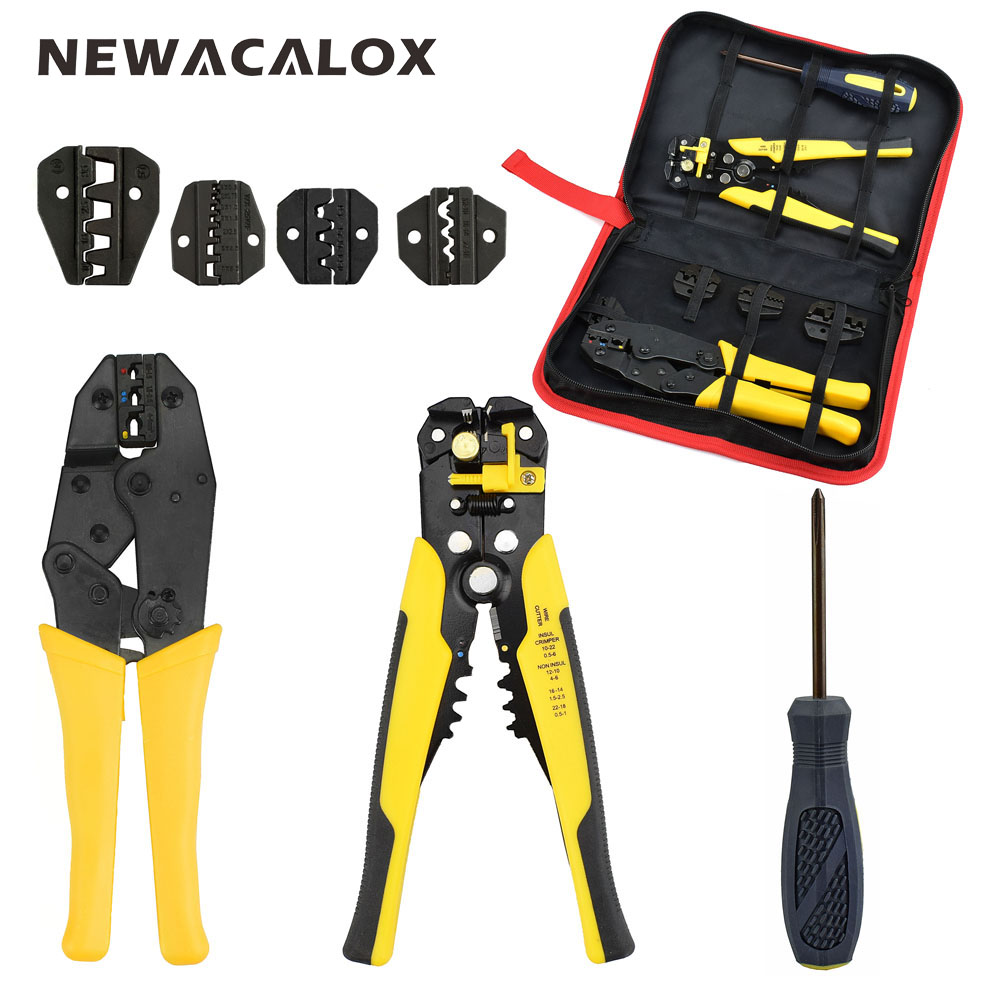 NEWACALOX Cable Wire Stripper Multifunctional Self-adjustable Terminal Tool Kit Crimping Plier Multi Wire Crimper Screwdiver 2pcs automatic coaxial crimper stripper adjustable rg59 rg6 rg11 connector cable compression tool for network