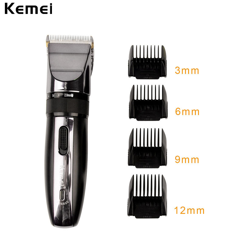 Kemei Hair Trimmer Clipper Electric Shaver Beard Trimmer Professional Rechargeable Haircut Titanium Ceramic Blade Clipper Men kemei 220 240v electric hair cutting rechargeable hair trimmer men beard trimmer shave razor haircut professional clipper kit