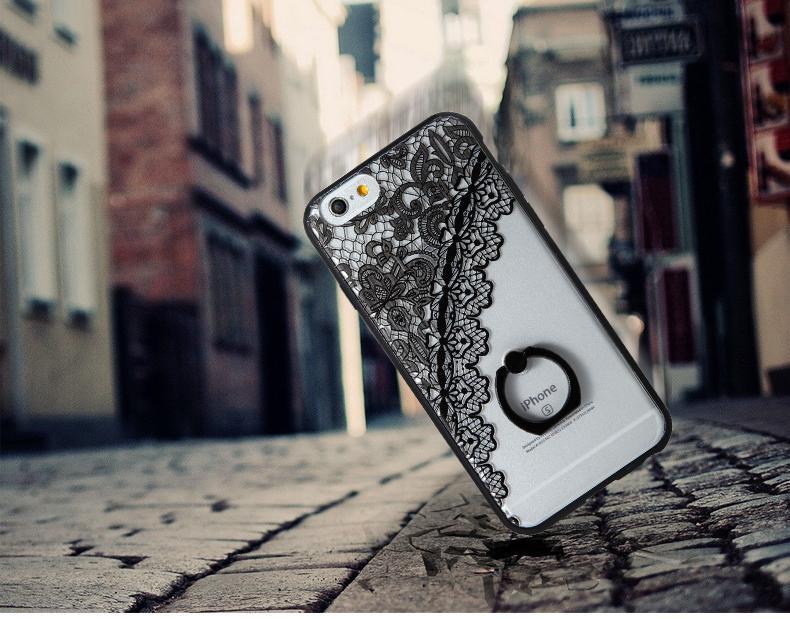 החדש לעומת הסוד תחרה שחורה דפוס פרחוני מקרה עבור iPhone 7 7 בתוספת 6 6 6 פלוס קשה כיסוי אחורי חצי רוז טבעת תחרה טלפון fundas