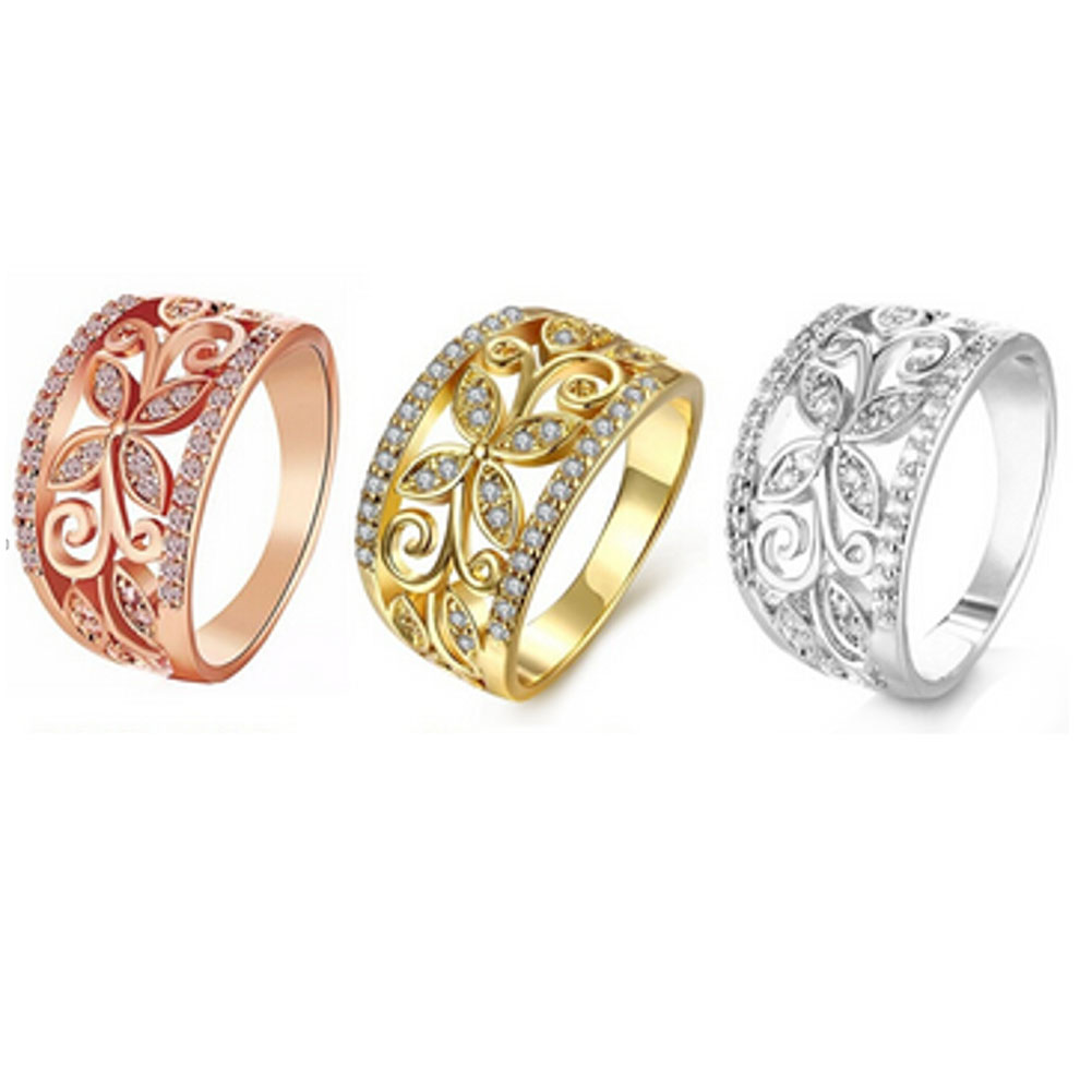 New Elegant Rings For Women, Hollowed Out Flower Pattern Brilliant Cute CZ Rhinestone Engagement Ring