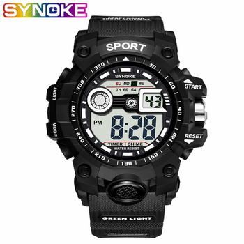 1e82527cceb3 SYNOKE 2019 nueva llegada reloj deportivo de lujo para hombre G Digital  choque militar deporte LED impermeable relojes de pulsera para hombre