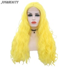 JOY&BEAUTY Yellow Kinky Curly 24 Inch-28Inch Long Lace Front Wig Natural Hairline Heat Resistant Synthetic Hair Wigs For Women