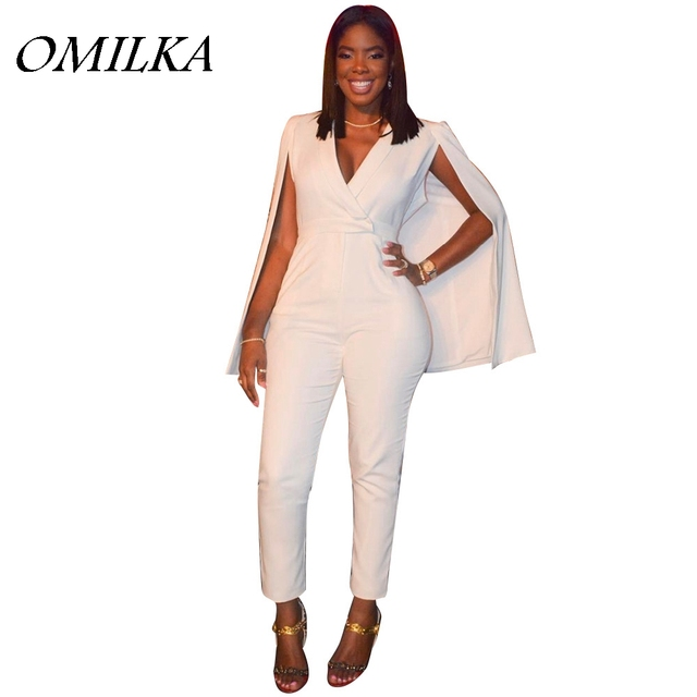 2085da619586 OMILKA 2017 Summer Women Cloak Cape Bodycon Rompers and Jumpsuits Sexy White  Long Sleeve High Waist V Neck Club Party Overalls