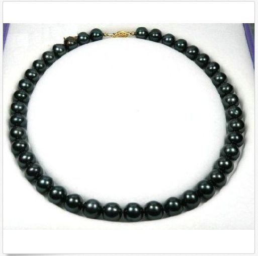 AAA10-11mm natural freshwater black pearl necklace18inch 925silverAAA10-11mm natural freshwater black pearl necklace18inch 925silver