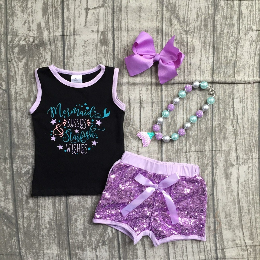summer outfits baby children girls clothing boutique mermaid kisses starfish wishes Sequins cotton shorts set match accessories factory wholesale price new design toddler boy clothing set summer fish embroidery boutique shorts baby remake outfits set