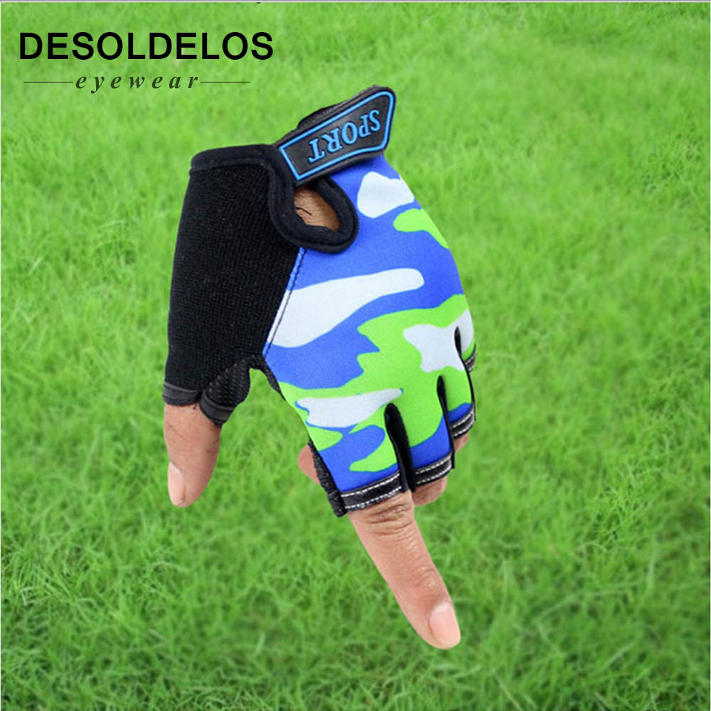 2019 Cute Children Gloves Outdoor Sports Luvas For 4-12 Years Luvas Boys Girls Half Finger Sky Pattern Fingerless Mittens
