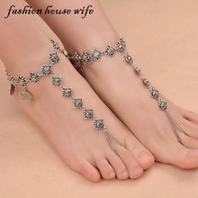 Fashion House Wife Vintage Coin Tassel Yoga Ankle Barefoot Sandals Foot Women Chinese Knots Beach Chain Jewelry Gifts LA0001