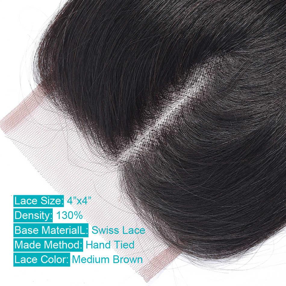 4*4 Cierre de encaje peruano cuerpo onda 100% cabello humano UR belleza Color Natural Remy pelo libre medio tres Partes cierre