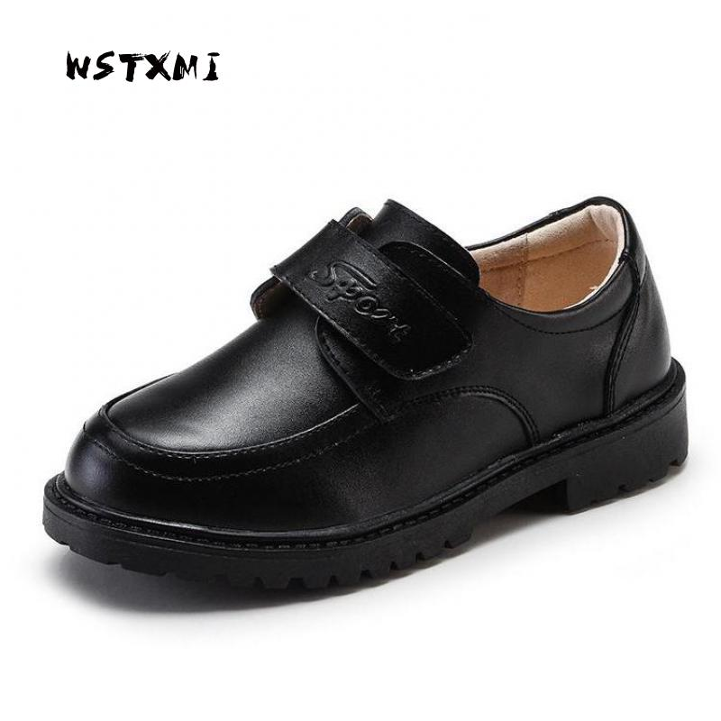 Boys Wedding Leather Shoes for Kids Genuine Leather Black School Oxford Dress Shoes Children Flat Etiquette Brand Rubber Sole