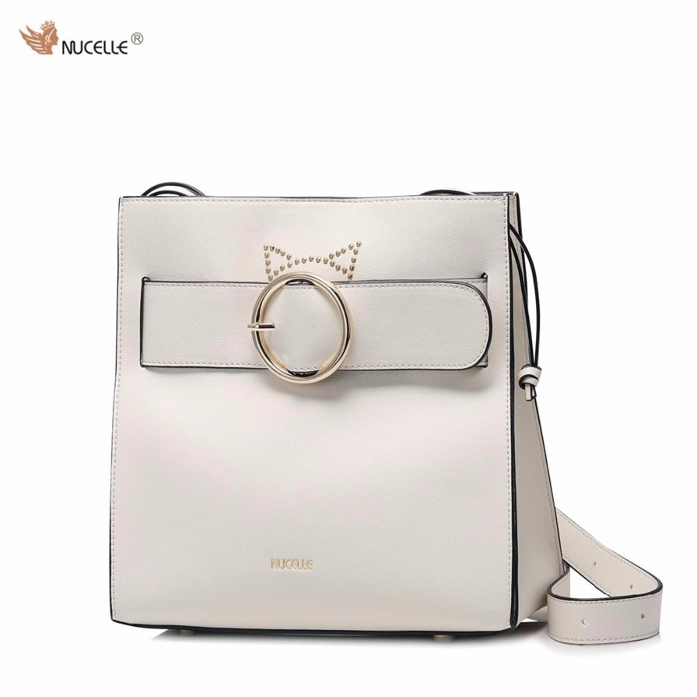 NUCELLE Brand New Design Fashion Rivets Cats Ears Drawstring PU Leather Women Handbag Shoulder Bag  Ladies Girls Cross body Bags 2016 new simple color block rivets design women s shoulder bag
