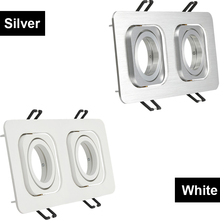 Double Head Square Modern LED Ceiling Lights Fixture Adjustable Led Housing MR16 GU10 Replacement Frame Downlight Fitting