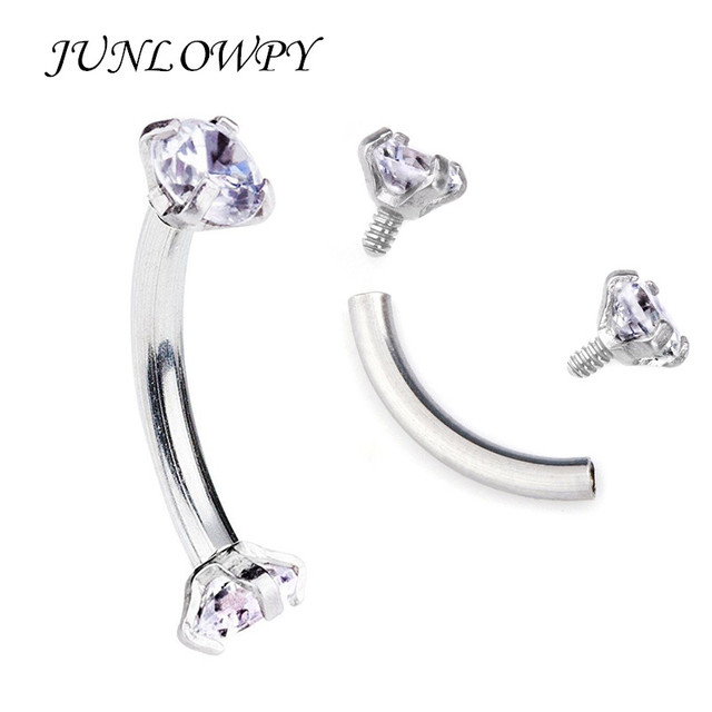 Tragus Earring Internally Thread Cubic Zircon Stainless Steel Curved Barbell Piercing Eyebrow Ring Body Jewelry