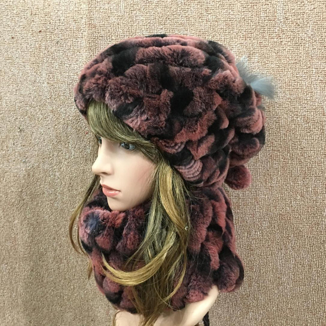 covering cap or scarf Dual Function Winter Genuine Real Knitted Rex Rabbit Fur Rings Women Fur Neck Muffler Scarf Lady Fur Hats